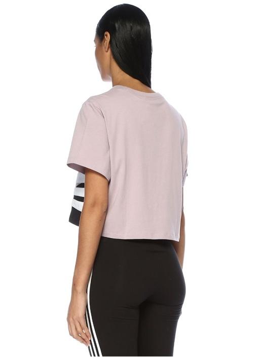 Lila Colorblock Bantlı Crop T-shirt