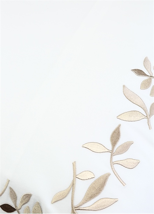 Salacak Beyaz Yaprak Nakışlı 2li YastıkKılıfı