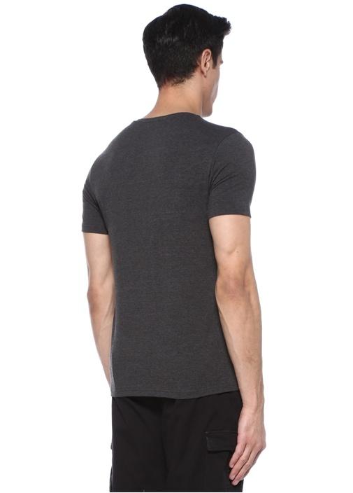 Antrasit V Yaka Basic T-shirt