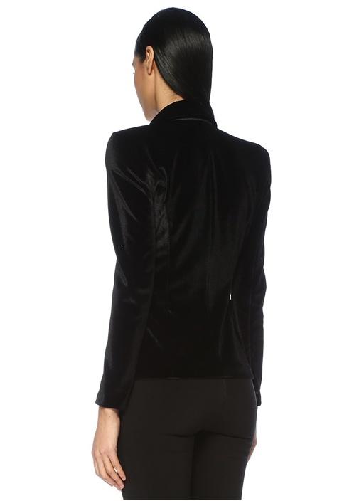 Siyah Kırlangıç Yaka Garnili Kruvaze Kadife Ceket