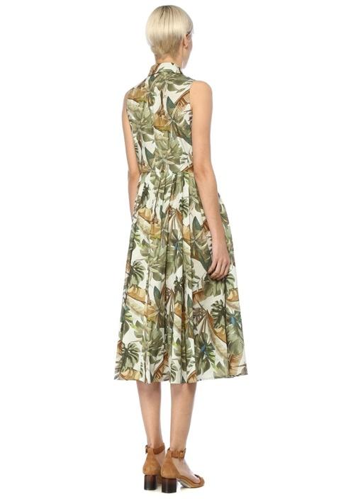 Tropikal Desenli Kolsuz Midi Poplin Gömlek Elbise