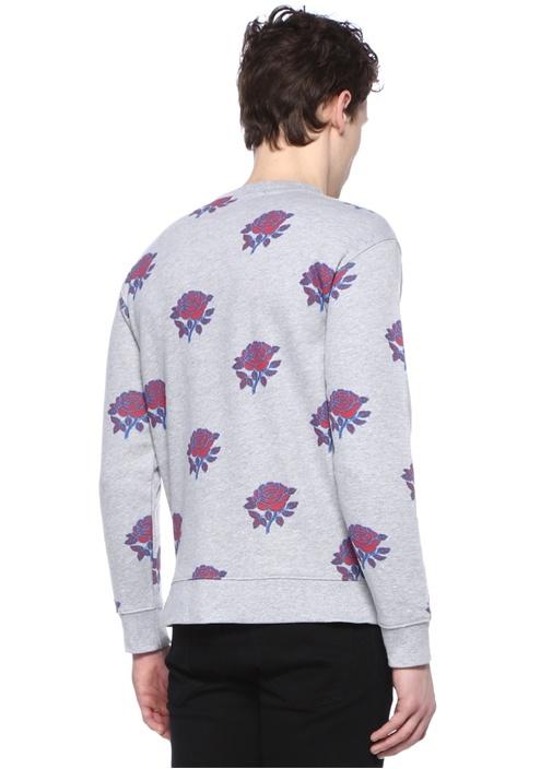Thorns Gri Bisiklet Yaka Gül Baskılı Sweatshirt
