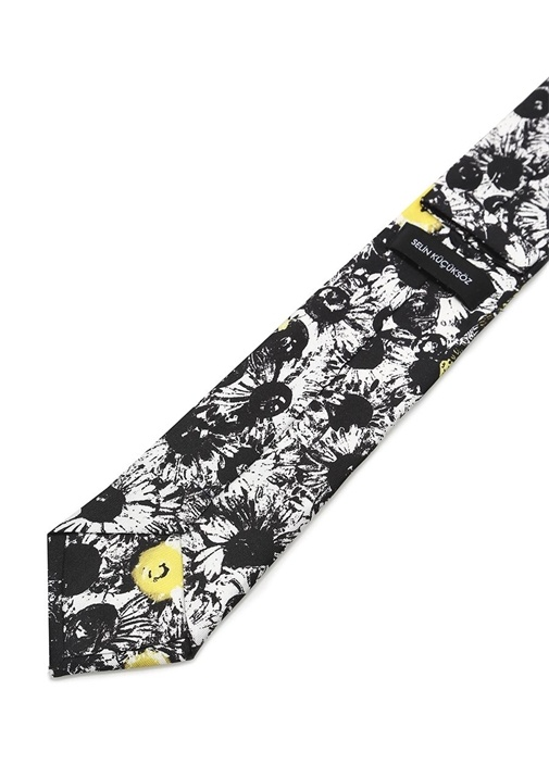 Siyah Karışık Desenli İpek Kravat