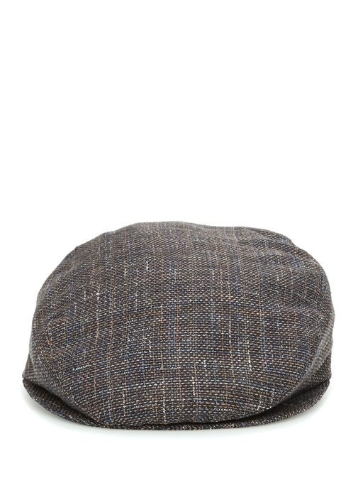 Kahverengi Dokulu Erkek Keten Şapka