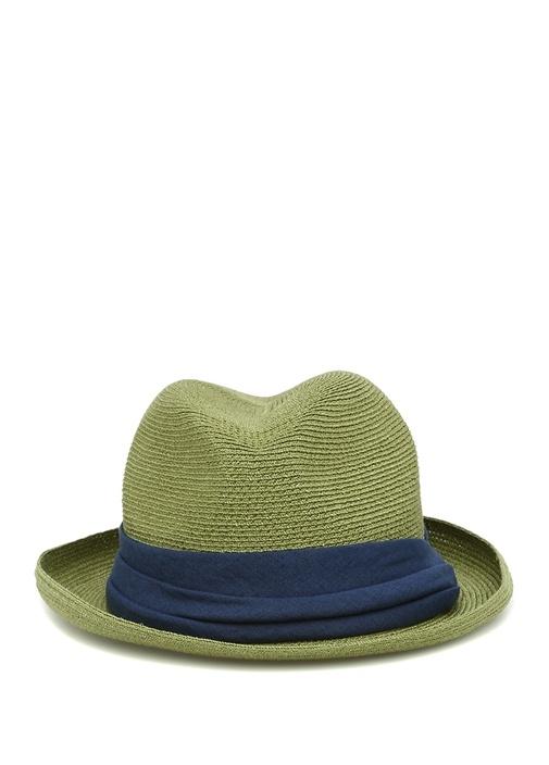 Yeşil Lacivert Hasır Dokulu Erkek Şapka