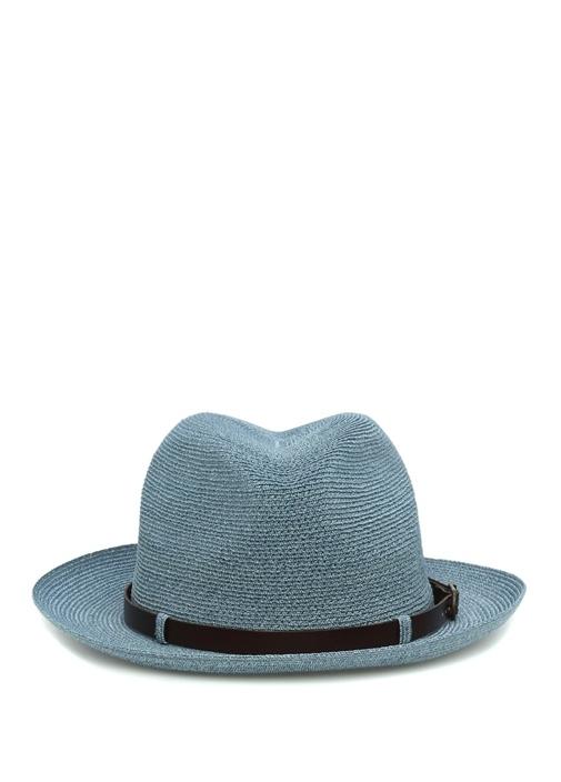 Mavi Kemer Detaylı Hasır Dokulu Erkek Şapka