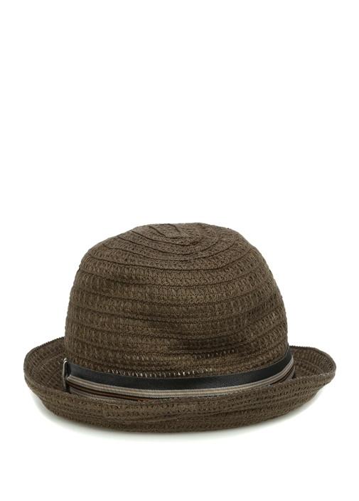 Gri Kemer Detaylı Hasır Dokulu Erkek Şapka