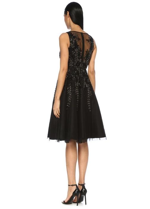 Siyah İşlemeli Transparan Midi Kokteyl Elbise