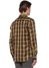 Comfort Fit Sarı Düğmeli Yaka Ekose Desenli Gömlek