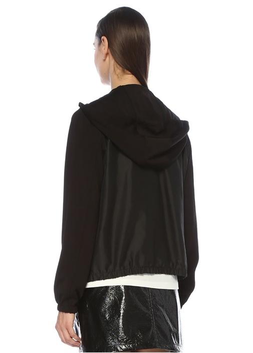 Siyah Kapüşonlu Fermuarlı Örme Sweatshirt