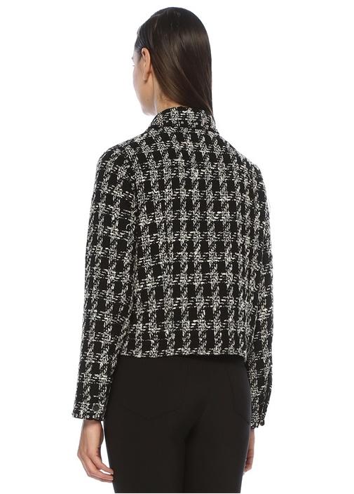 Siyah Kazayağı Desenli Troklu Tweed Ceket