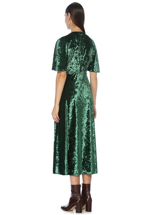 Yeşil Volan Kollu Midi Kadife Abiye Elbise