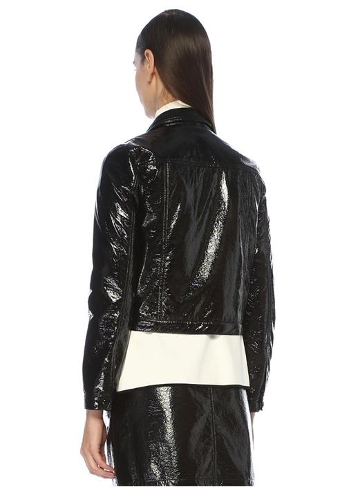 Siyah Rugan Görünümlü Crop Ceket