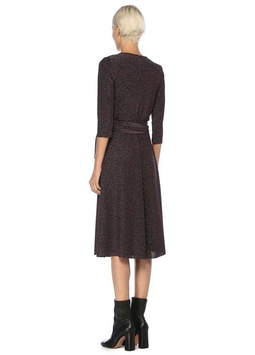 Siyah Simli Truvakar Kol Midi Anvelop Elbise