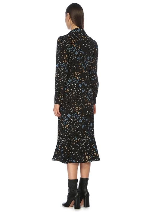 Siyah Yaprak Desenli Volanlı Midi Gömlek Elbise
