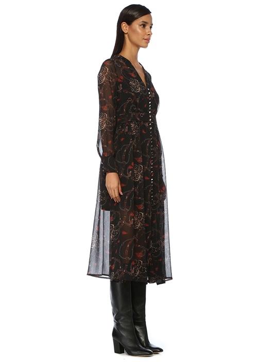 Siyah V Yaka Zincir Desenli Midi Şifon Elbise