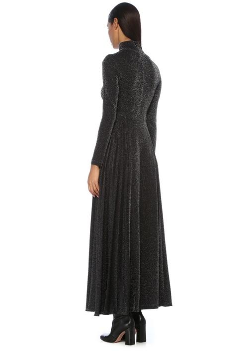 Siyah Parlak Dokulu Pileli Maxi Elbise