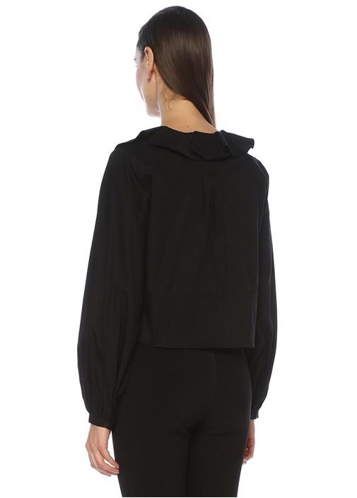 Siyah V Yaka Fırfırlı Crop Poplin Gömlek