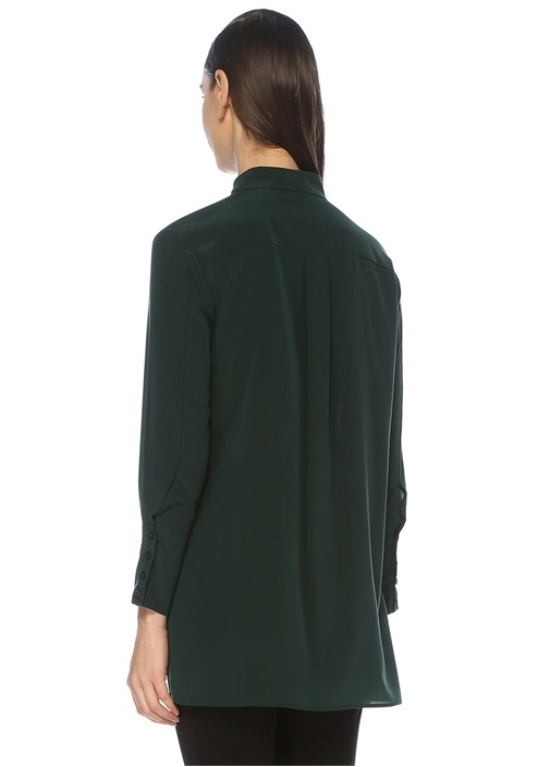 Yeşil Önü Kısa Yırtmaç Detaylı İpek Gömlek