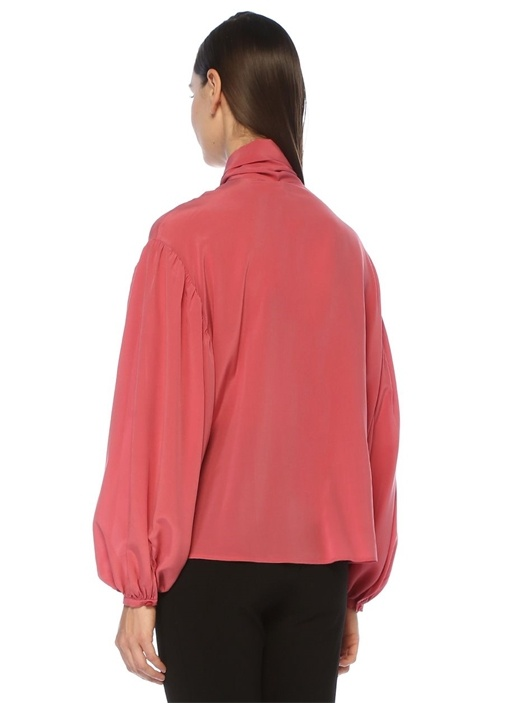 Pembe Yakası Bağcıklı Balon Kol İpek Gömlek