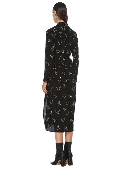 Siyah Beyaz Uçan Kuş Baskılı Midi Elbise