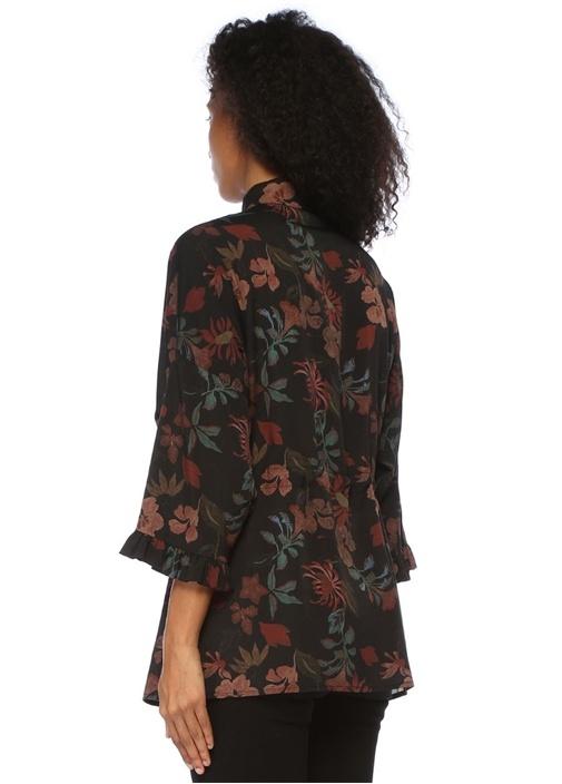 Oversize Siyah Çiçekli Beli Büzgülü Gömlek