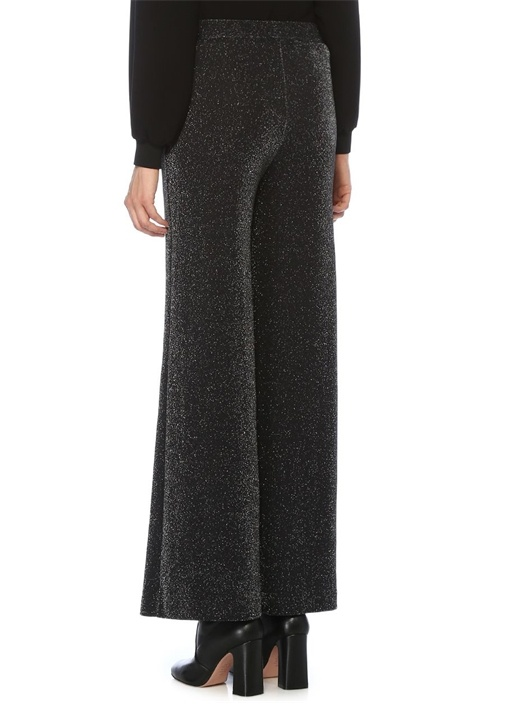 Siyah Simli Bol Paça Örme Pantolon