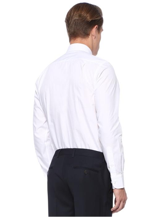 Custom Fit Beyaz İngiliz Yaka Gömlek
