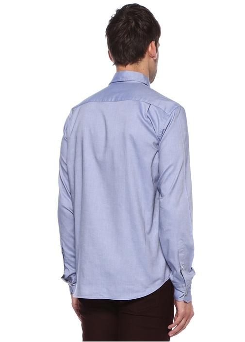 Comfort Fit Mavi Düğmeli Yaka Oxford Gömlek