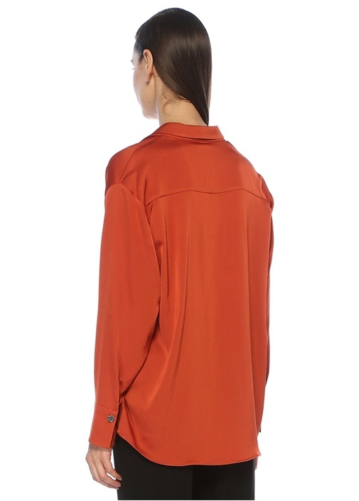 Kiremit Yaka Detaylı Bluz