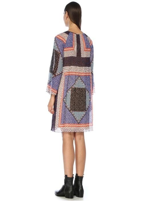 Yakası Bağlı Patchwork Desenli Pileli Midi Elbise