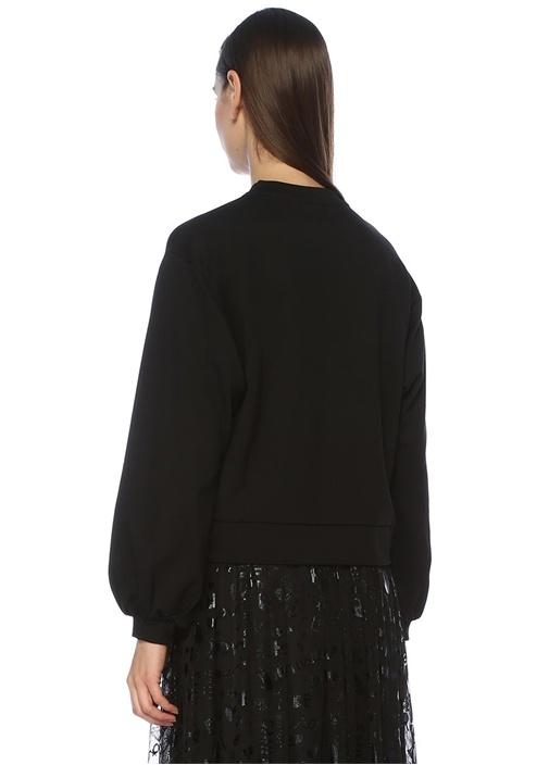 Siyah Taş Baskılı Balon Kol Sweatshirt