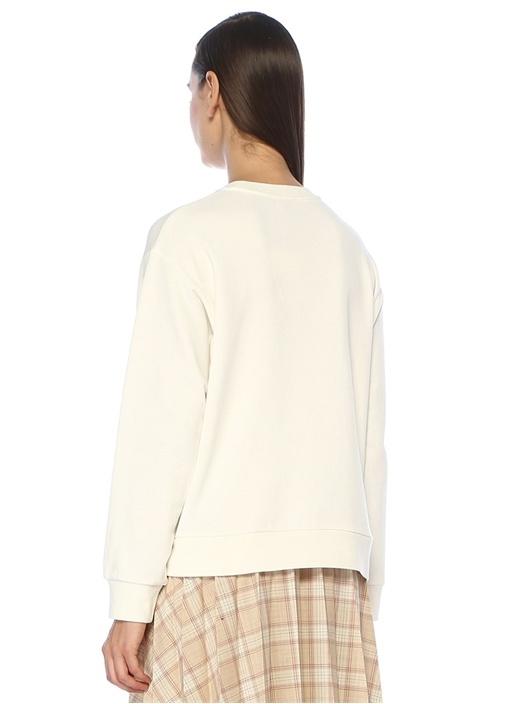 Beyaz Slogan Patchli Sweatshirt