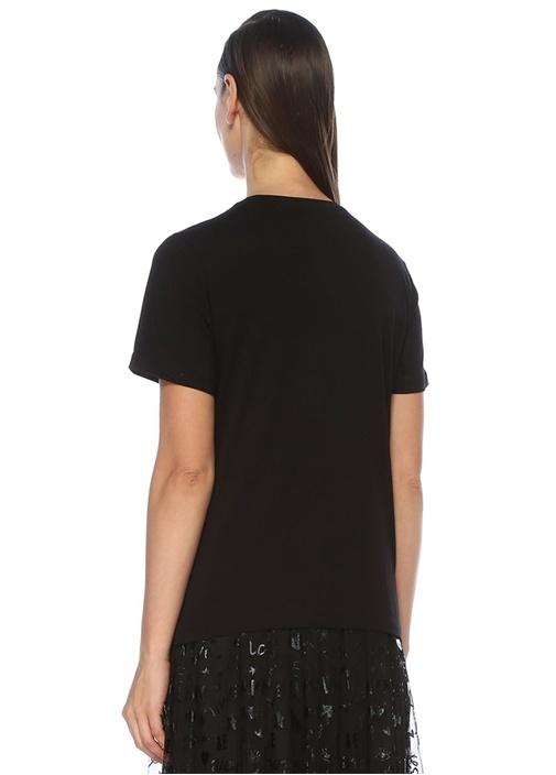 Siyah Slogan Jakarlı Çiçek Desenli Basic T-shirt