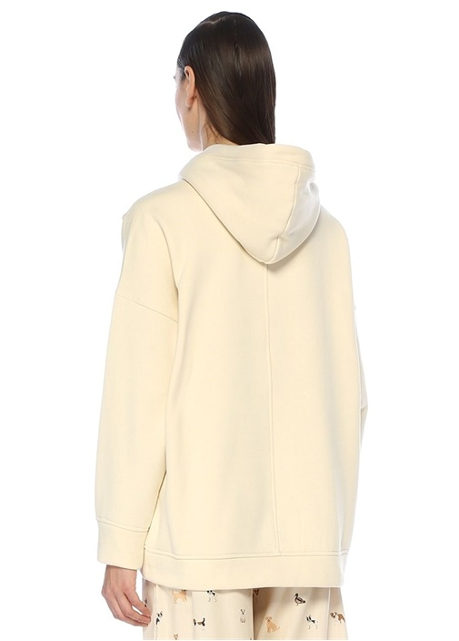 Ekru Oversize Kapüşonlu Patch Detaylı Sweatshirt