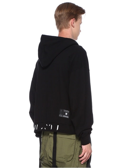 Siyah Kapüşonlu Şerit Jakarlı Sweatshirt