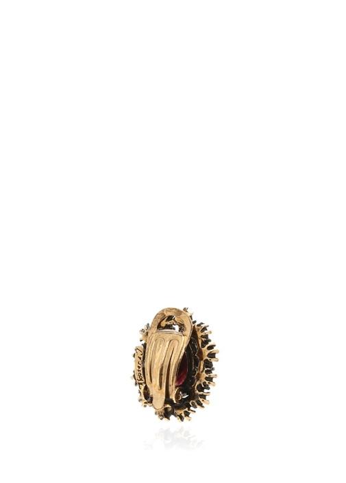 Gold Kahverengi Taşlı Oval Formlu KadınKüpe