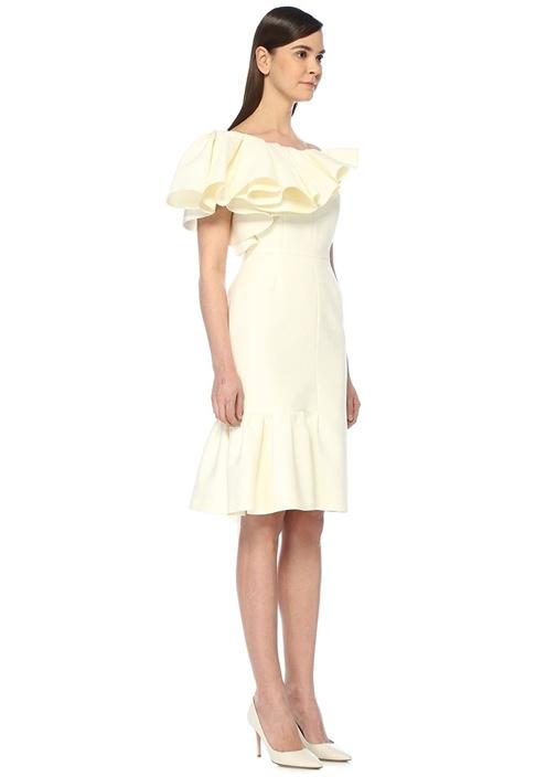 Ekru Kayık Yaka Asimetrik Volanlı Midi Elbise