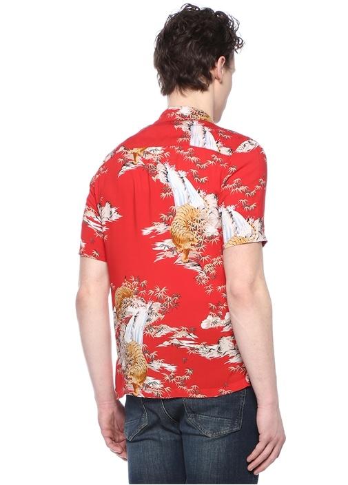 Indo Kırmızı Apaç Yaka Desenli Cepli Gömlek