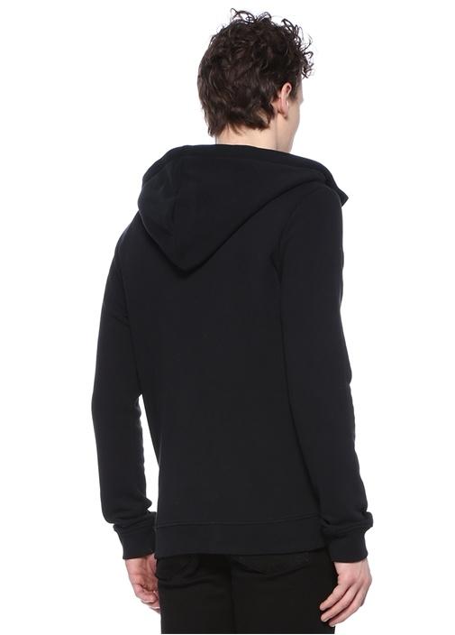 Raven Siyah Kapüşonlu Logo Nakışlı Sweatshirt