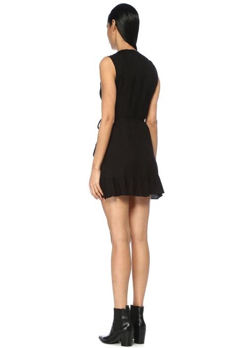 Krystal Siyah Fırfırlı Mikro Desenli Mini Elbise