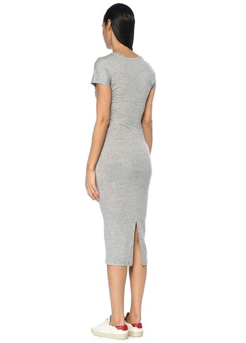 Paloma Gri Düğüm Detaylı Midi Elbise