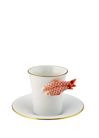 Herend Beyaz Balık Tutacaklı Porselen Kahve Fincanı Turuncu Standart