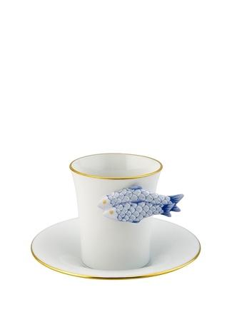 Herend Beyaz Mavi Balık Tutacaklı Porselen Kahve Fincanı Standart