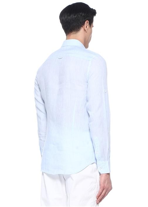 Mavi İngiliz Yaka Keten Gömlek