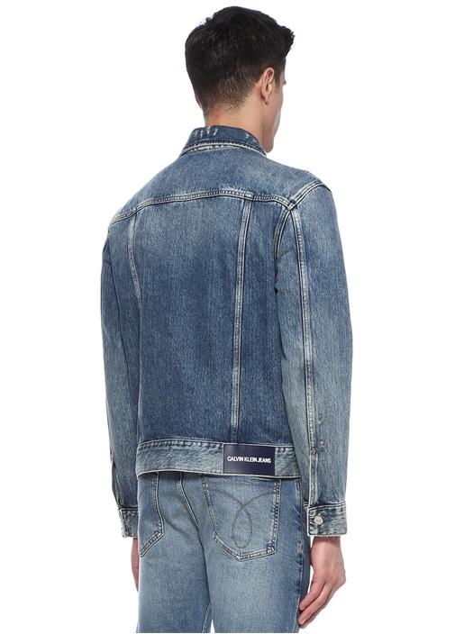 Mavi İngiliz Yaka Yıpratma Detaylı Denim Ceket
