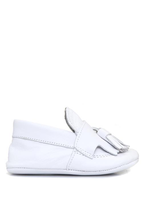 Beyaz Püskül Detaylı Erkek Çocuk Deri Ayakkabı