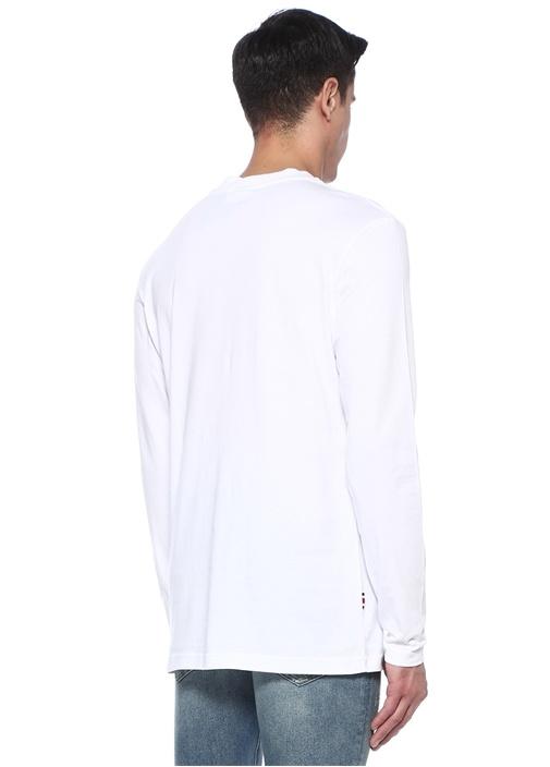 Beyaz Baskılı Organik Pamuklu Sweatshirt