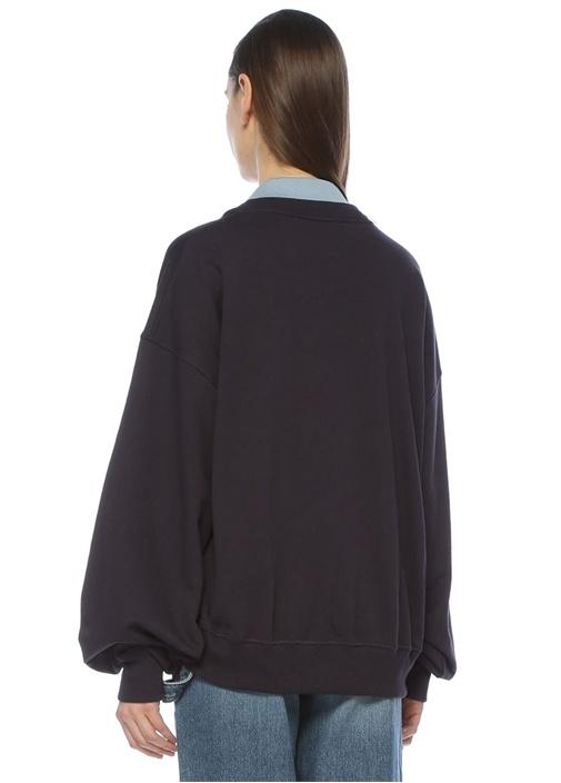 Lacivert Polo Yaka Logo Nakışlı Sweatshirt