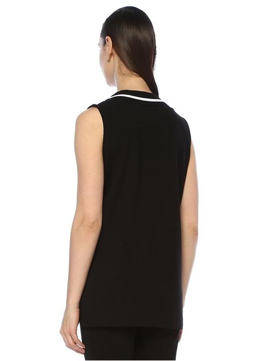 Siyah V Yaka Triko Garnili Şeritli Kolsuz T-shirt